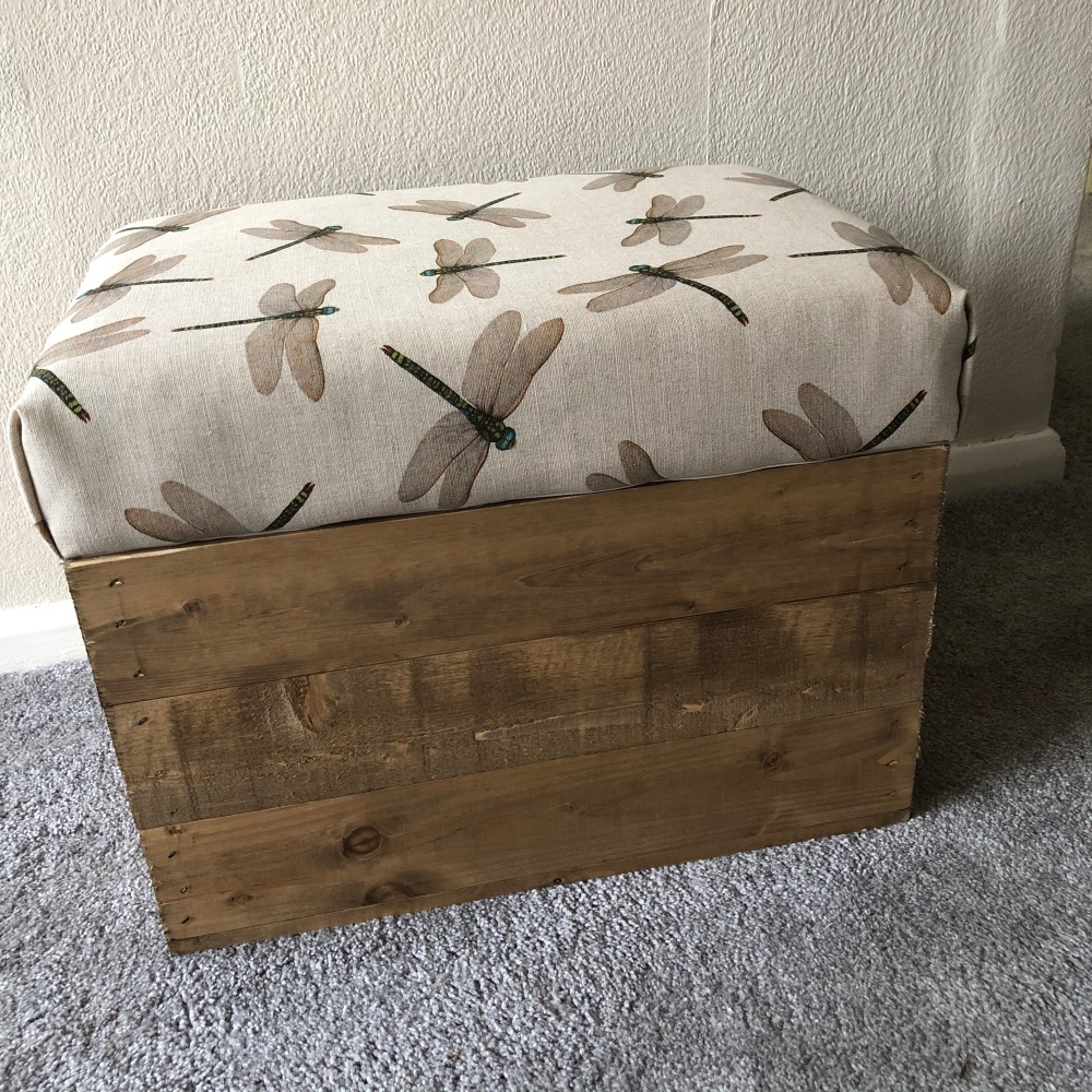 Wooden Vintage Style Apple Crate Storage Seat- linen dragonfly