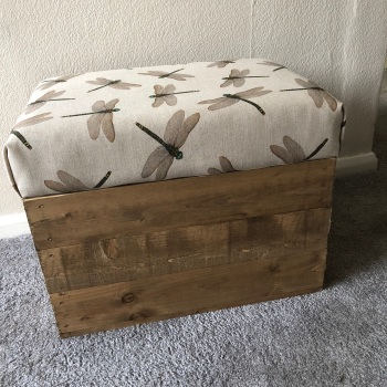 Wooden Vintage Style Apple Crate Storage Seat- Linen Dragonfly Swarm