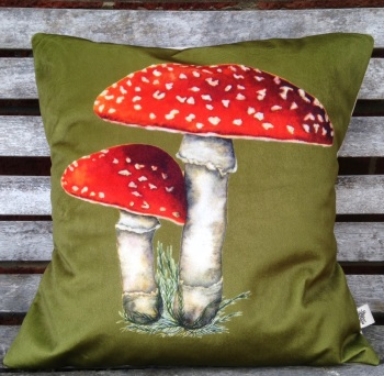 Velvet Fly Agaric Cushion- Green