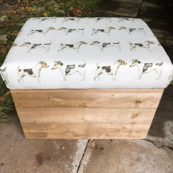 Wooden Vintage Style Apple Crate Storage Seat- Jack Russell
