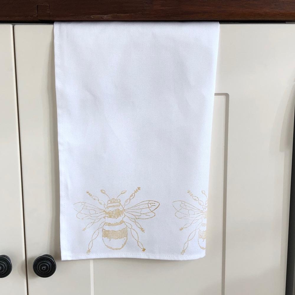 Tea Towel - Hand Printed  Bee