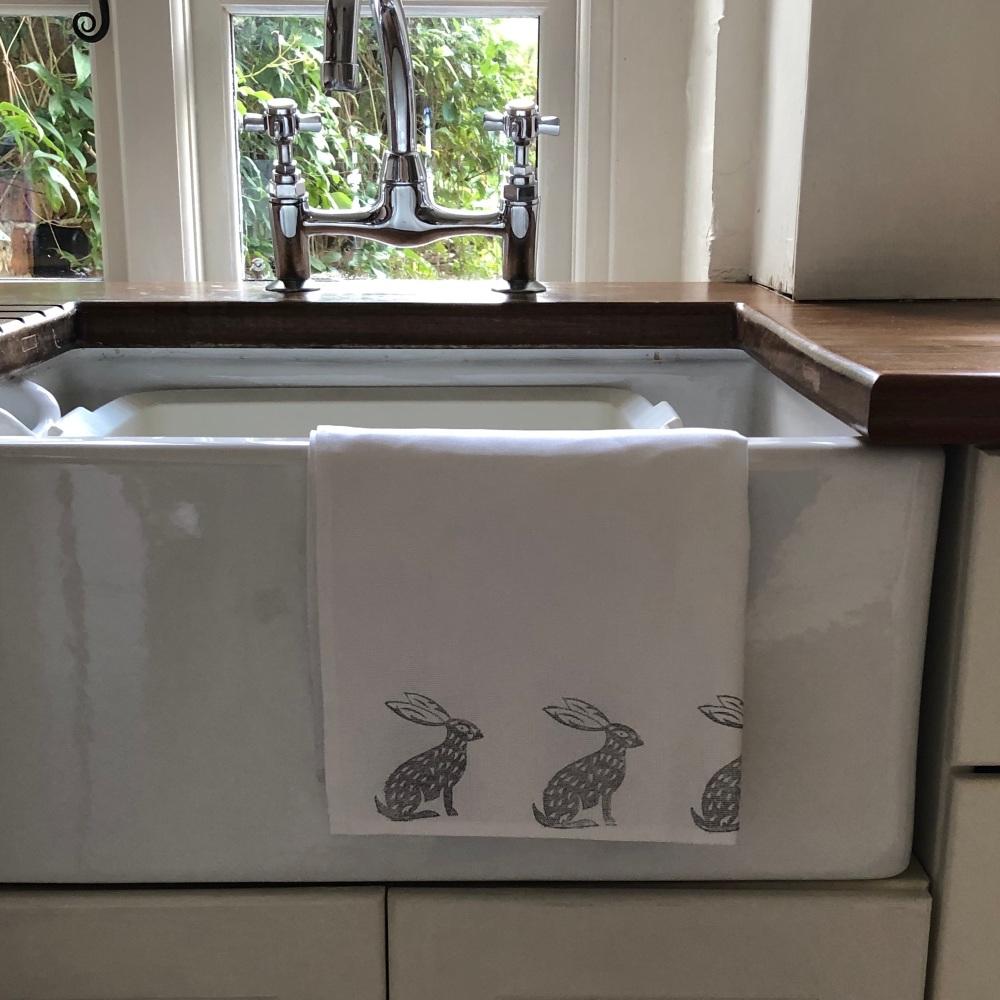 Tea Towel - Hand Printed Sitting Hare
