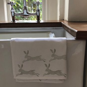Tea Towel - Hand Printed  Leaping Hares
