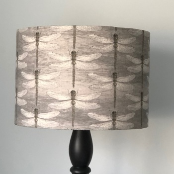 Lampshade - Charcoal Linen Dragonfly