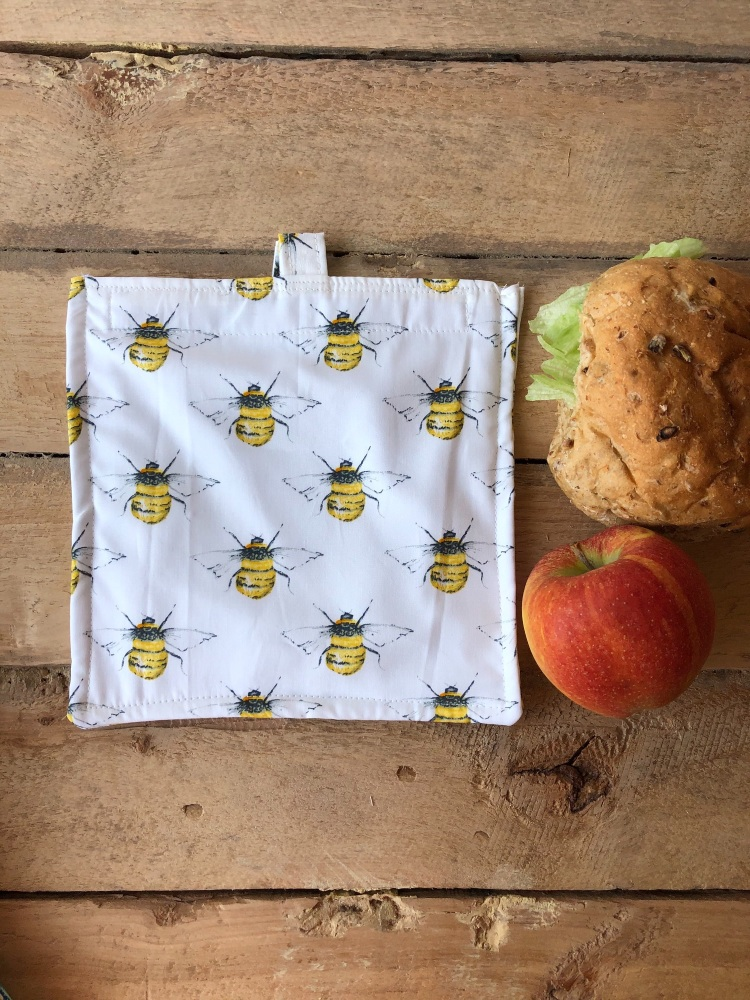 Reusable Snack and Sandwich Bags - Bees White