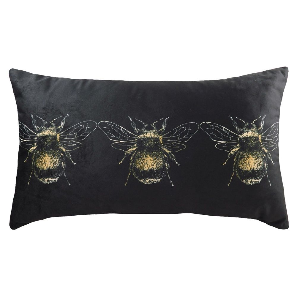 Three Bee Black Velvet Cushion