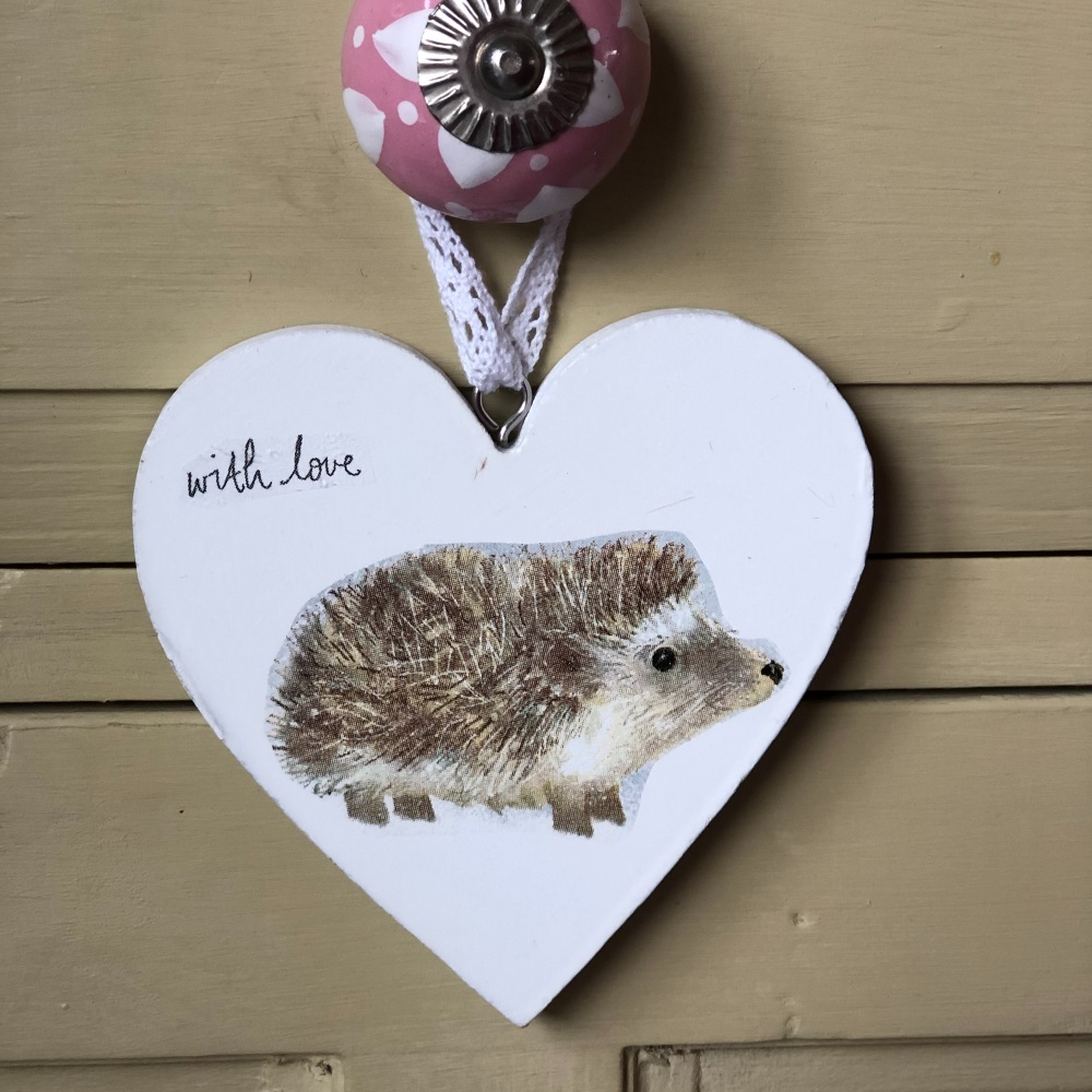 Hanging Heart -  Wood Hedgehog