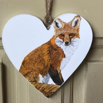 Hanging Heart -  Wood Large Fox