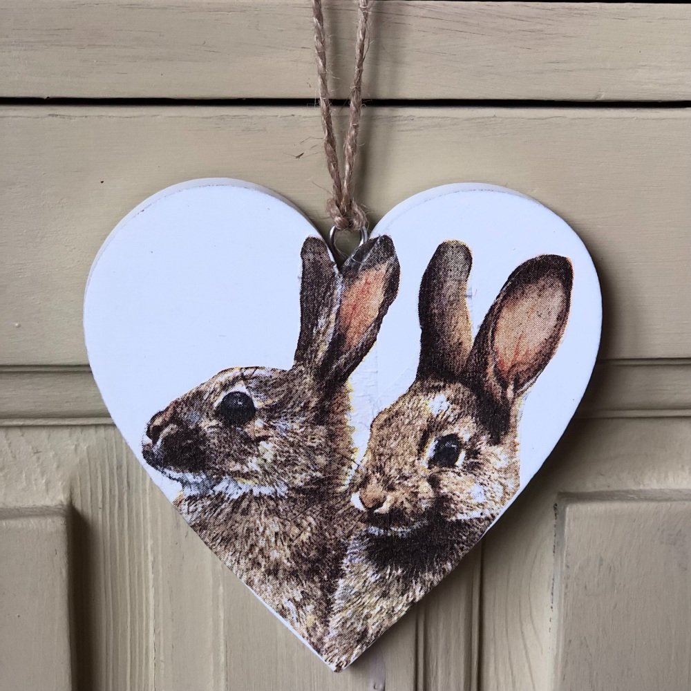 Hanging Heart -  Wood Hares