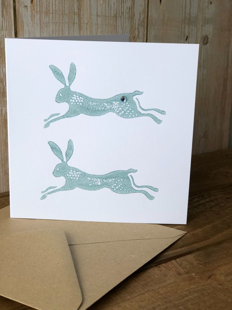 Hand Printed Card - Leaping Hare