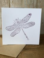 Hand Printed Card - Dragonfly