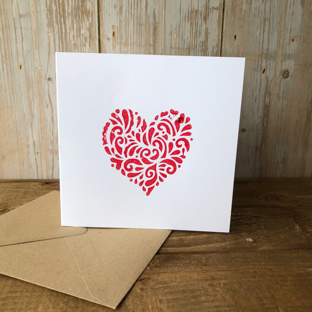 Hand Printed Card - Heart Red