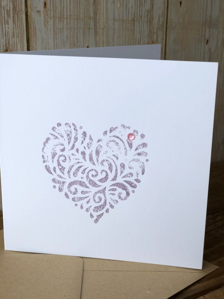 Hand Printed Card - Heart Violet