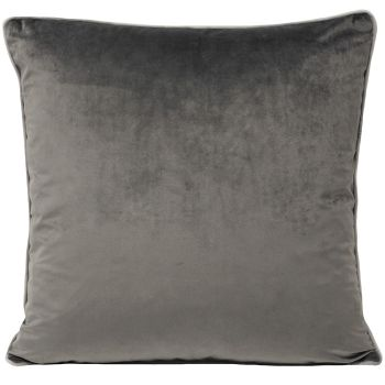 Large Velvet Cushion - Charcoal and Dove