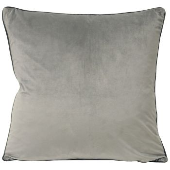 Large Velvet Cushion - Dove and Charcoal