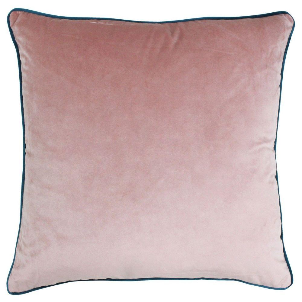 Large Velvet Cushion - Blush and Teal