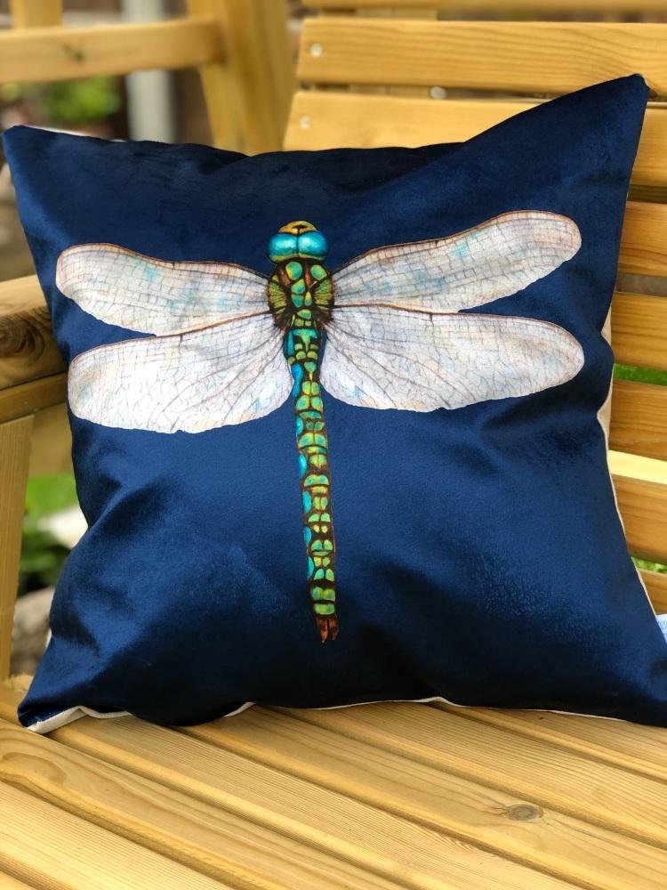 Velvet  Chenille Dragonfly Cushion - Navy