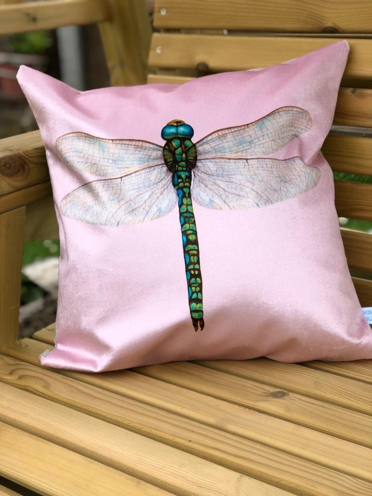 Velvet  Chenille Dragonfly Cushion - Rose Pink