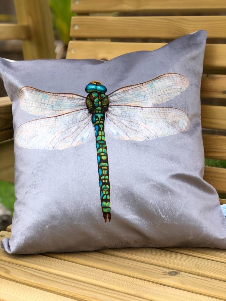 Velvet Chenille Dragonfly Cushion - Silver