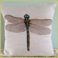 Linen Dragonfly  Cushion