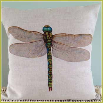 Linen Dragonfly  Cushion with feather pad