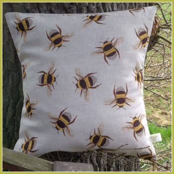 Linen Multi Bee Linen Cushion with feather filled pad