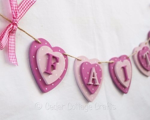 Personalised Double Heart Bunting (Alternating colours)