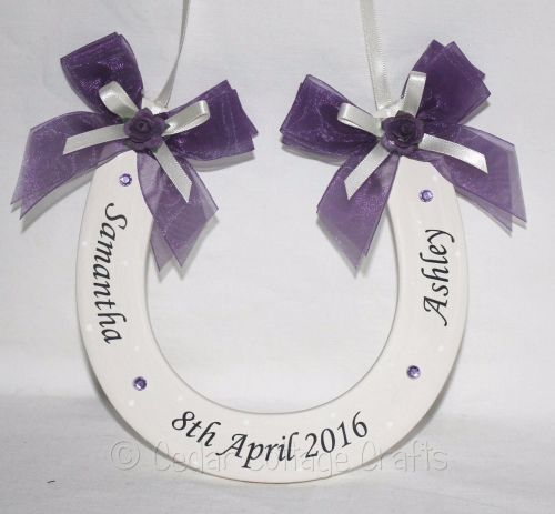 Personalised Wedding Horseshoe in Purple & Ivory