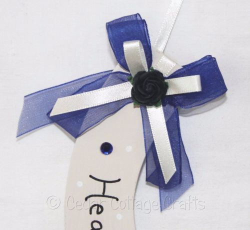 Personalised Wedding Horseshoe in Navy Blue & Ivory
