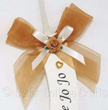 Personalised Wedding Horseshoe in Gold & Ivory