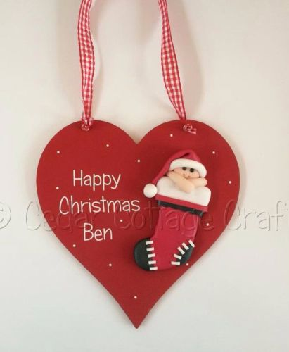 Personalised First Christmas Fimo Stocking Baby heart