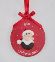 Personalised First Christmas Fimo Pudding Baby Tree Bauble