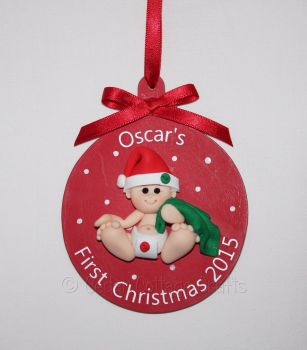 Personalised First Christmas Fimo Baby Tree Bauble