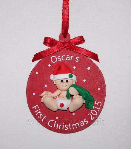 Personalised Christmas Fimo Pudding Baby Tree Bauble