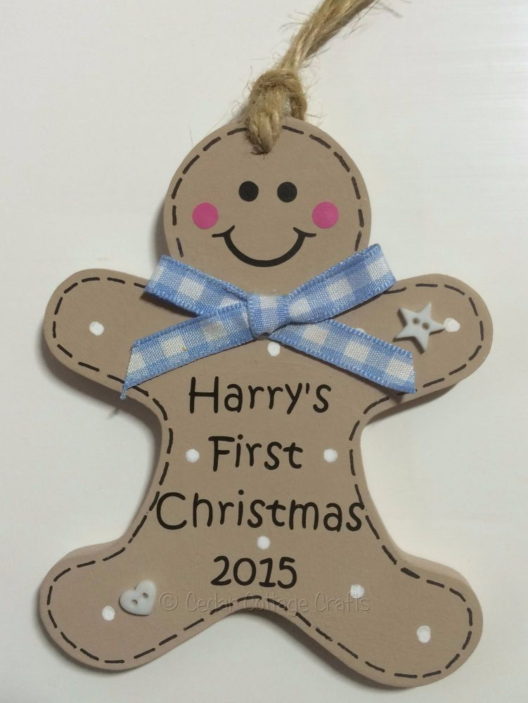 personalised 1st christmas gingerbread man decoration