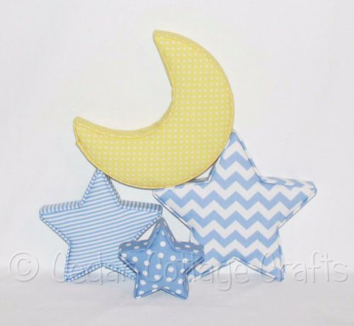 Fabric Covered Padded Moons in Blues & Yellows