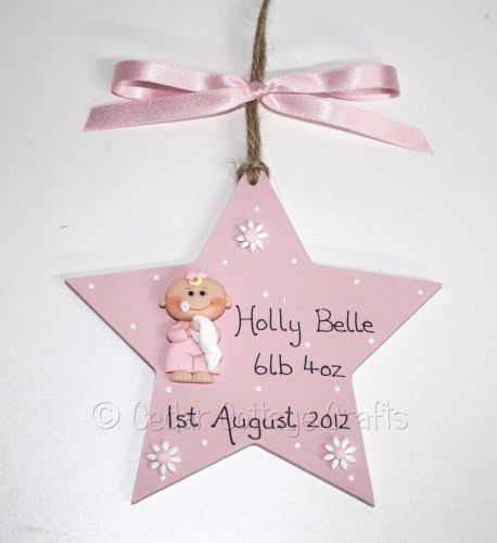 Personalised New Baby Chunky Star with fimo baby