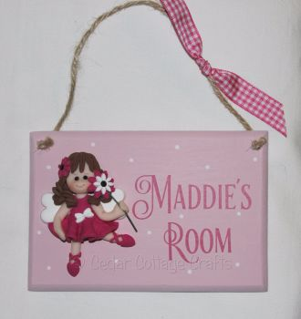 Personalised Room Plaque with fimo fairy girl