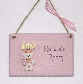Personalised Room Plaque with fimo girl with teddy