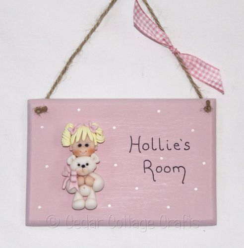 Personalised Room Plaque with fimo figure