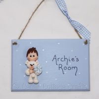 Personalised Room Plaque with fimo boy with teddy