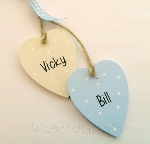 Personalised Hanging Wooden Hearts