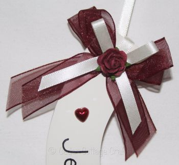 Personalised Wedding Horseshoe in Burgundy & Ivory