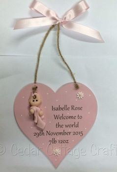 Personalised Welcome to the world Chunky Heart with fimo baby
