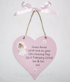 Personalised Christening Day Chunky Heart with fimo baby