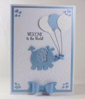 New Baby Card - Elephant & Balloons