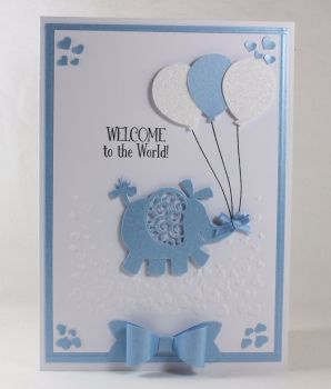 New Baby Card - Elephant & Balloons