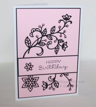 Happy Birthday Card -  Flourishing leaves & flowers