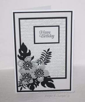Happy Birthday Card -  French script & flowers