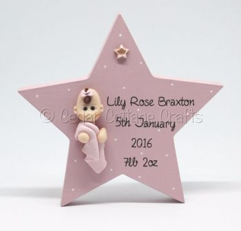 Personalised Freestanding Star with fimo baby